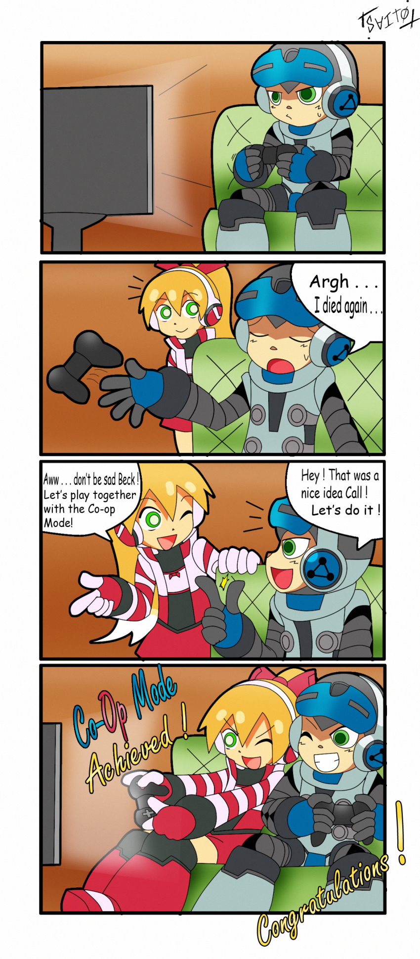 1boy 1girl 4koma ;) absurdres beck_(mighty_no._9) blonde_hair call_(mighty_no._9) comic congratulations controller english game_controller gamepad green_eyes headphones helmet highres long_hair mighty_no._9 playing_games ponytail shoutaro_saito striped_sleeves wink