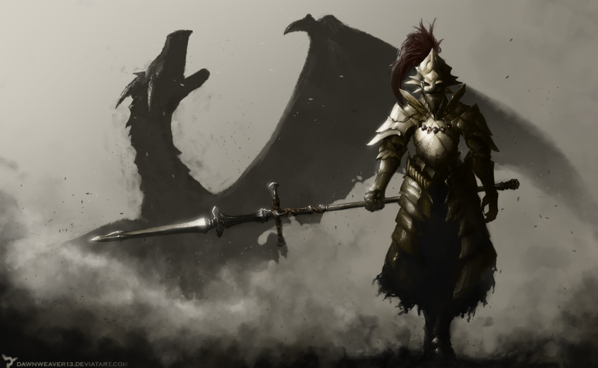 1boy armor breastplate dark_souls dawnweaver13 dragon dragon_slayer_ornstein faulds full_armor gauntlets greaves helm helmet holding pauldrons polearm smoke spear weapon