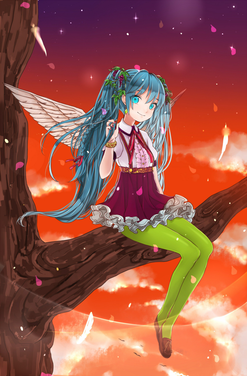 1girl aqua_eyes aqua_hair bracelet feathers gotoh510 green_legwear hatsune_miku highres in_tree jewelry long_hair looking_at_viewer pantyhose sitting sitting_in_tree skirt sky smile solo sunset suspenders tree twintails very_long_hair vocaloid wings