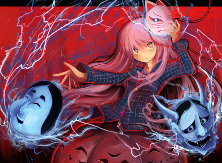 1girl arm_up expressionless fox_mask hata_no_kokoro lightning long_hair long_sleeves looking_at_viewer mask momen102_(sji09u) multicolored_background noh_mask oni_mask open_hand outstretched_arm parted_lips pink_eyes pink_hair plaid plaid_shirt skirt solo star touhou triangle very_long_hair x
