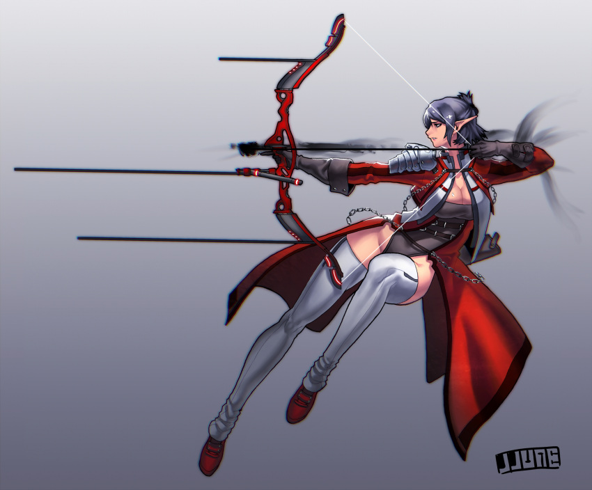 1girl aiming archery arrow bow_(weapon) breasts chain cleavage compound_bow cropped_jacket detached_leggings elf gloves grey_eyes grey_hair highres jjune large_breasts leotard making_of pauldrons pointy_ears shiny shiny_skin short_hair showgirl_skirt simple_background solo thigh-highs weapon