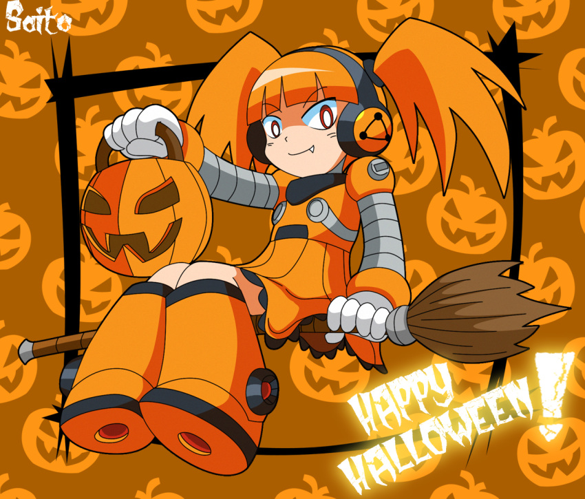 1girl alternate_color broom broom_riding call_(inafune_keiji) call_(mighty_no._9) fang halloween happy_halloween headphones jack-o'-lantern mighty_no._9 orange_hair red_eyes robot shoutaro_saito smile twintails