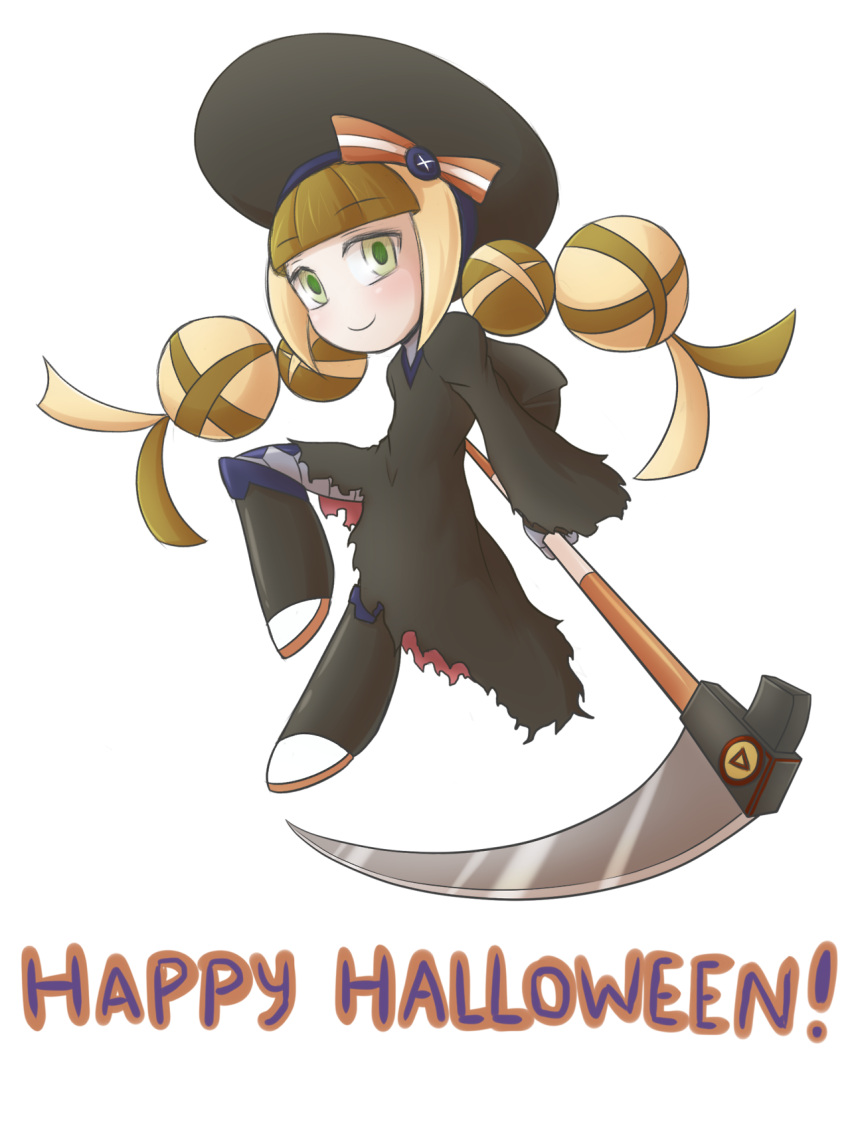 beret blonde_hair braid brown_hair call_(mighty_no._9) call_i green_eyes happy_halloween hat highres long_hair mighty_no._9 multicolored_hair sabasse scythe smile transparent_background twin_braids two-tone_hair weapon