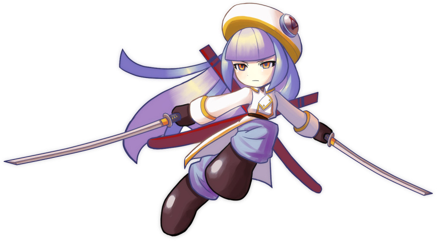 1girl alternate_costume bangs blue_hair boots call_(mighty_no._9) call_i dual_wielding hat katana long_hair mighty_no._9 multicolored_hair pants pontata purple_hair scabbard sheath solo sword tsurime two-tone_hair weapon white_background yellow_eyes