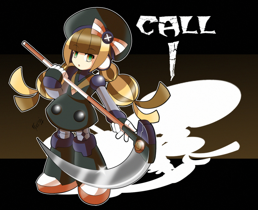 1girl beret braid brown_eyes brown_hair call_i character_name dress green_eyes hat highres long_hair mighty_no._9 multicolored_eyes robot robot_joints scythe shoutaro_saito solo twin_braids weapon