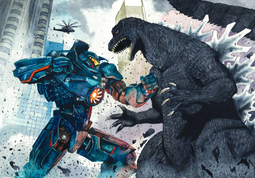 crossover gipsy_danger godzilla godzilla_(series) helicopter hion_s kaijuu mecha monster no_humans open_mouth pacific_rim red_eyes science_fiction super_robot tail traditional_media