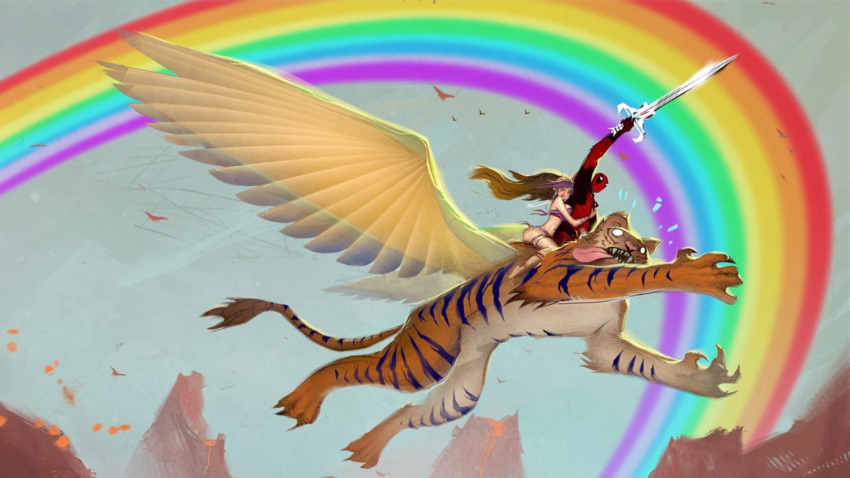 1boy 1girl bikini brown_hair crown deadpool garters highres long_hair marvel mask rainbow screencap swimsuit sword tiger weapon wings