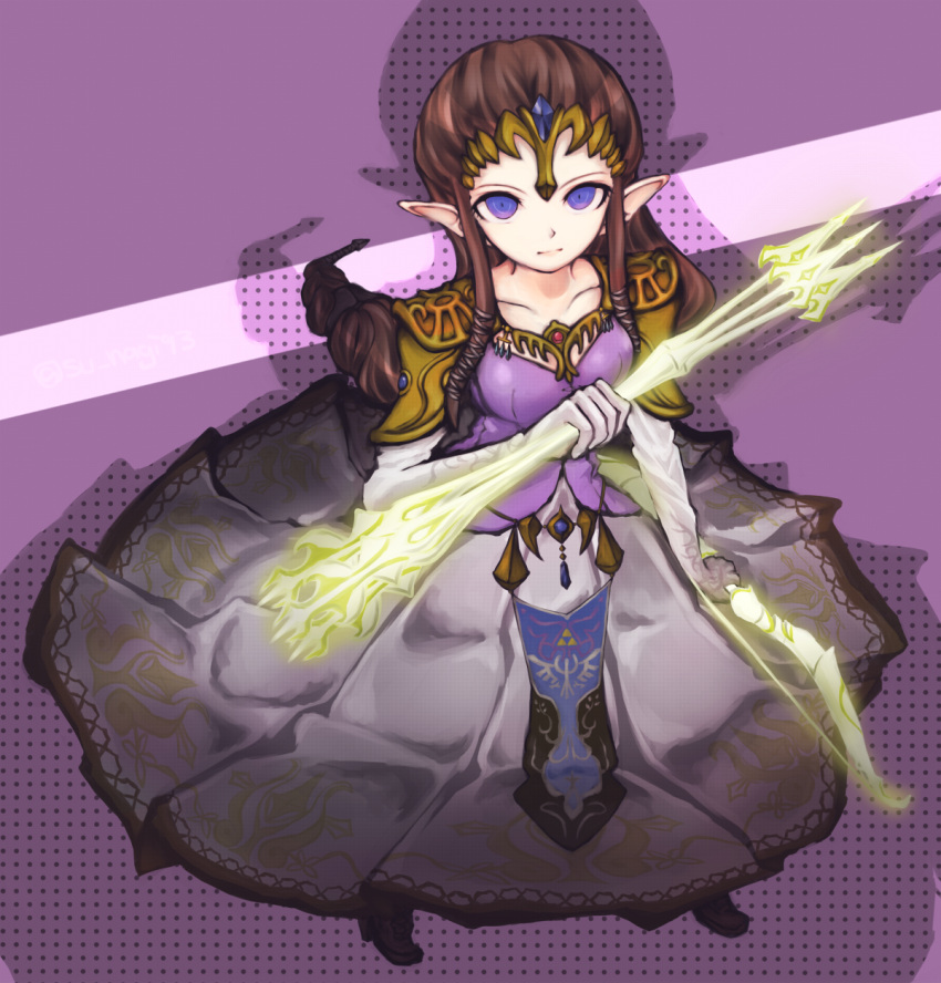 1girl blue_eyes bow_(weapon) brown_hair dangan_ronpa gloves highres long_hair nintendo parody pointy_ears princess_zelda shoulder_pads solo style_parody sunagimo_(nagimo) the_legend_of_zelda tiara twilight_princess weapon