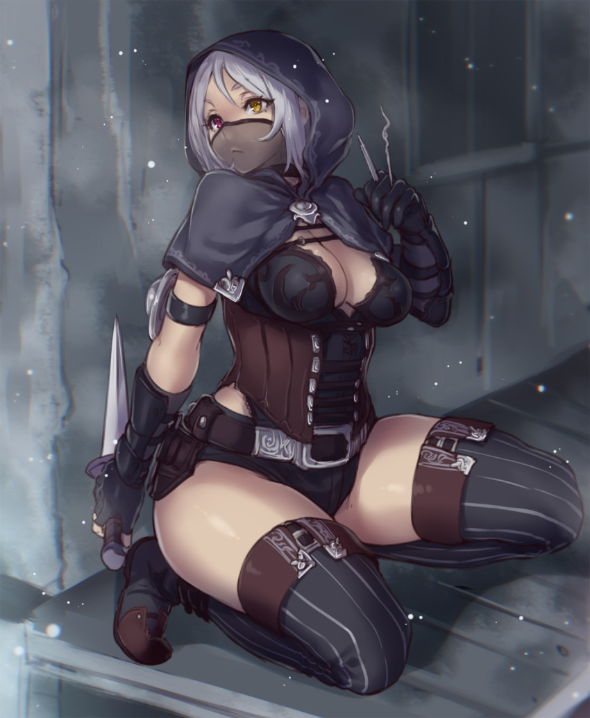 1girl :< arm_guards boots breasts choker cleavage corset fingerless_gloves gloves heterochromia highres hood houtengeki knife large_breasts lockpick mask original red_eyes short_hair silver_hair solo striped striped_legwear thick_thighs thigh_boots thighhighs thighs vertical-striped_legwear vertical_stripes yellow_eyes