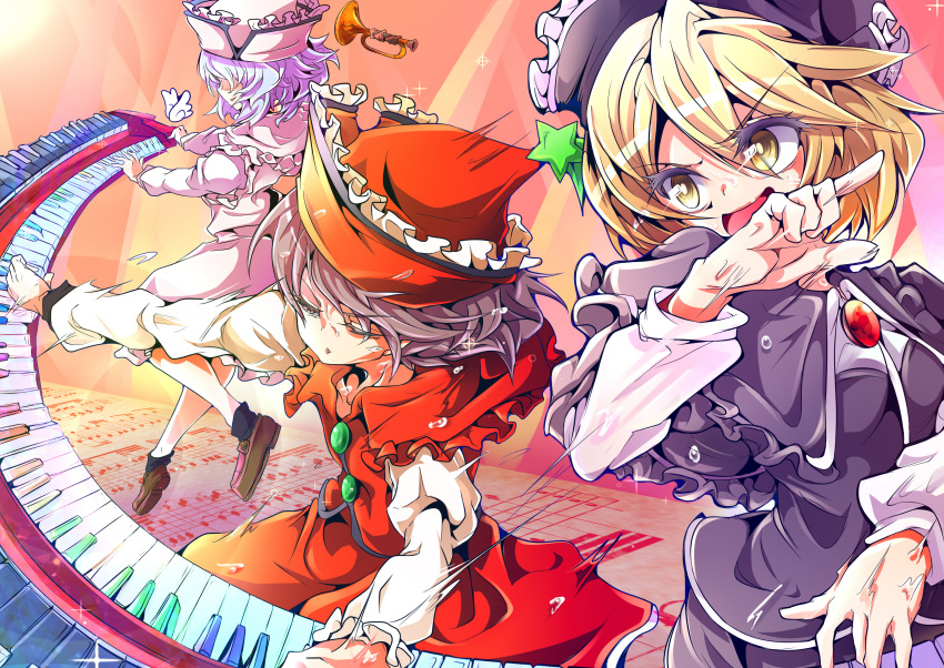 3girls absurdres baba_(pixiv3422465) blonde_hair blue_hair brown_eyes brown_hair flying_sweatdrops hat highres instrument lunasa_prismriver lyrica_prismriver merlin_prismriver motion_lines multiple_girls musical_note open_mouth short_hair synthesizer touhou trumpet yellow_eyes