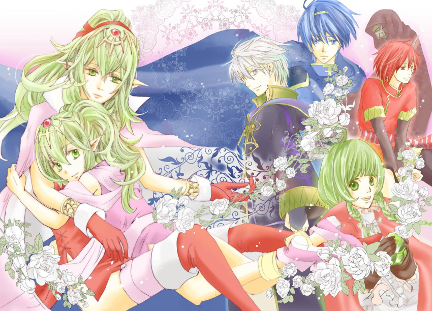 3girls 4boys bantu blue_eyes blue_hair braid bridal_gauntlets cape cheine chiki crystal dress dual_persona fire_emblem fire_emblem:_kakusei fire_emblem:_monshou_no_nazo flower garter_straps gloves green_eyes green_hair hair_ornament hair_ribbon headband highres hood hug long_hair looking_at_viewer marth multiple_boys multiple_girls my_unit nn_(fire_emblem) older pink_legwear pointy_ears ponytail red_dress red_eyes red_gloves red_legwear redhead ribbon robe shi_(aoiyuno) short_dress thigh-highs time_paradox twin_braids