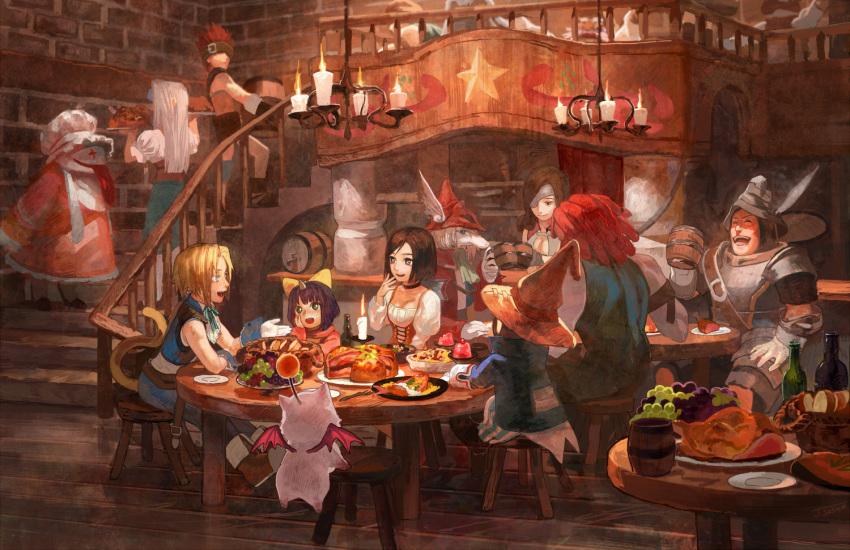 +_+ 5boys 5girls adelbert_steiner armor ascot barrel basket beatrix blank blonde_hair blue_eyes bob_cut bottle bow bread breastplate brown_eyes brown_hair candle carrying chandelier chef_hat cleavage_cutout cup earrings eiko_carol eyepatch feathers final_fantasy final_fantasy_ix flying food fork freija_crescent fruit garnet_til_alexandros_xvii glass gloves grapes hair_bow hand_on_own_face hat helmet horn indoors jewelry keg laughing long_hair looking_at_another meat mog moogle mug multiple_boys multiple_girls neck_ribbon plate purple_hair quina_quen redhead restaurant ribbon ruby_(ff9) salamander_coral sasumata_jirou short_hair sitting smile stairs star stool striped striped_legwear table tail tongue tongue_out turkey_(food) vivi_ornitier walking white_hair witch_hat zidane_tribal