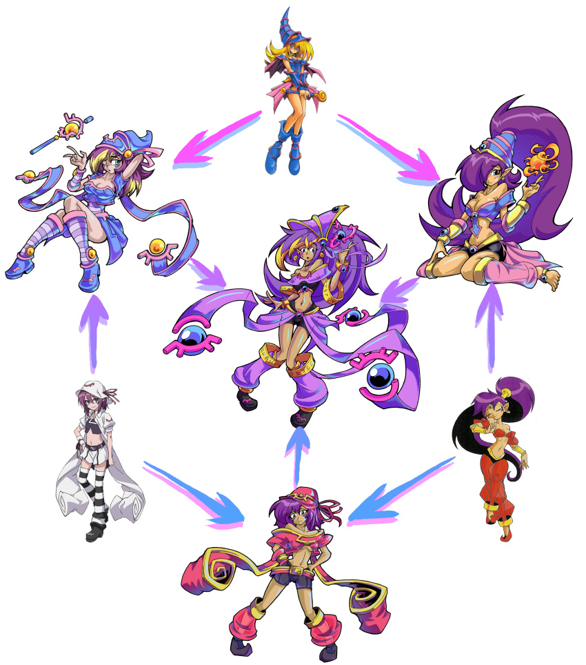 3girls absurdres anklet bangle barefoot blonde_hair bracelet chimerism crossover dark_magician_girl dark_skin detached_leggings duel_monster fusion green_eyes hagoromo hallowgazer hands_on_hips hat highres jewelry kneehighs long_hair merry_nightmare multiple_crossover multiple_girls pointy_ears pointy_shoes purple_hair see-through shantae shantae_(character) shawl short_hair shorts sitting striped striped_legwear very_long_hair wariza yumekui_merry yuu-gi-ou yuu-gi-ou_duel_monsters