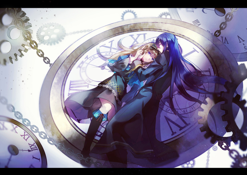 1boy 1girl alice_liddell blue_eyes blue_hair boots bow brown_hair capelet chain clock closed_eyes couple dress earrings gears hair_bow hands_on_another's_face heart_no_kuni_no_alice highres holding_hands jewelry julius_monrey letterboxed long_hair pants robe sleeping very_long_hair