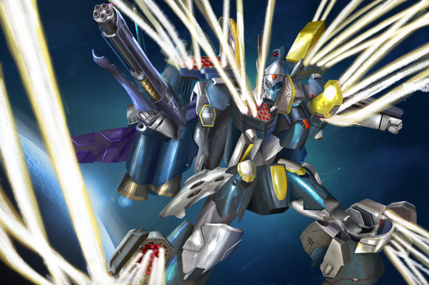 gunpod i.t.o_daynamics itano_circus macross macross_frontier mecha missile planet science_fiction space vf-25