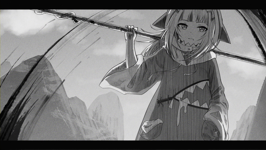 1girl animal_hood bangs blood blunt_bangs fang gawr_gura greyscale hand_in_pocket highres hololive hololive_english hood hoodie implied_murder letterboxed monochrome mountain polearm shark_hood solo virtual_youtuber weapon weizen wide_sleeves