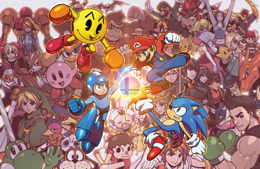 6+boys 6+girls absolutely_everyone animal back-to-back bandai-namco_entertainment blonde_hair blue_hair bodysuit bowser boxing_gloves capcom captain_falcon charizard creatures_(company) crossover diddy_kong dog_(duck_hunt) donkey_kong doubutsu_no_mori dual_persona duck_(duck_hunt) duck_hunt elbow_gloves everyone falco_lombardi fan fire_emblem folding_fan fox_mccloud game_freak ganondorf gloves greninja hal_laboratory_inc. hoshi_no_kirby ike intelligent_systems jigglypuff kid_icarus king_dedede kirby kirby_(series) link little_mac lucario lucina luigi mario mario_(series) marth multiple_boys multiple_crossover multiple_girls my_unit namco ness nintendo olimar pac-man pac-man_(game) palutena pikachu pikmin pikmin_(creature) pit_(kid_icarus) pokemon pokemon_(creature) pokemon_(game) princess_peach princess_zelda robert_porter rockman rockman_(character) rockman_(classic) rosalina_(mario) samus_aran scanlines sega sheik shulk smash_ball sonic sonic_the_hedgehog super_mario_bros. super_smash_bros. super_smash_bros_64 super_smash_bros_brawl super_smash_bros_for_wii_u_and_3ds super_smash_bros_melee sword tagme the_legend_of_zelda twilight_princess varia_suit villager_(doubutsu_no_mori) wario warioware watermark weapon web_address wii_fit wii_fit_trainer xenoblade yoshi zero_suit