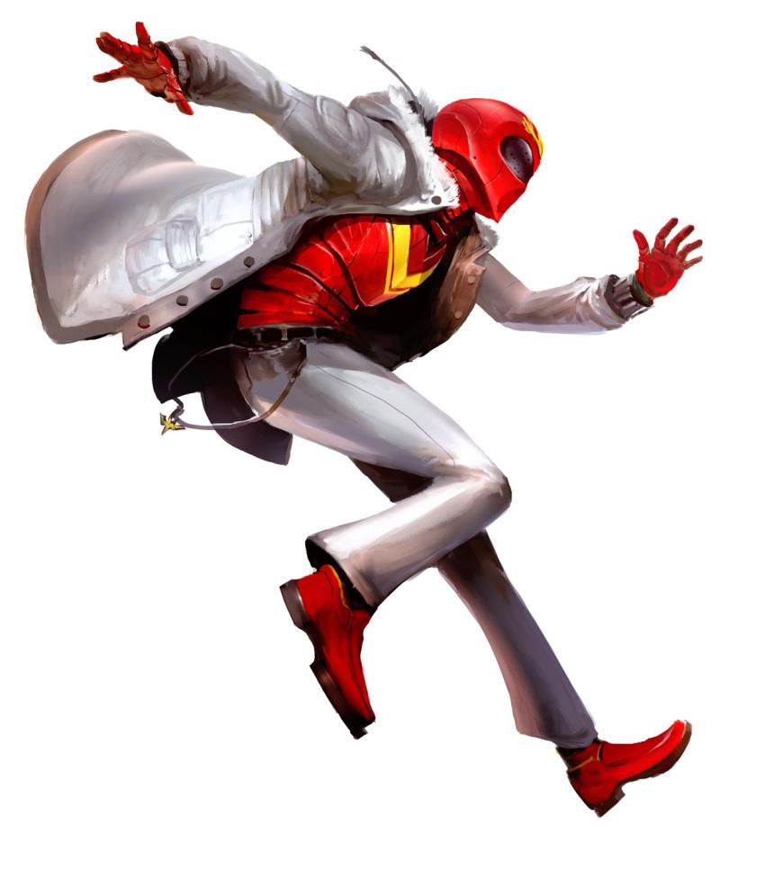 1boy aka_ranger helmet highres himitsu_sentai_goranger jumping kekai_kotaki male pants red_shoes shoes solo super_sentai winter_clothes winter_coat