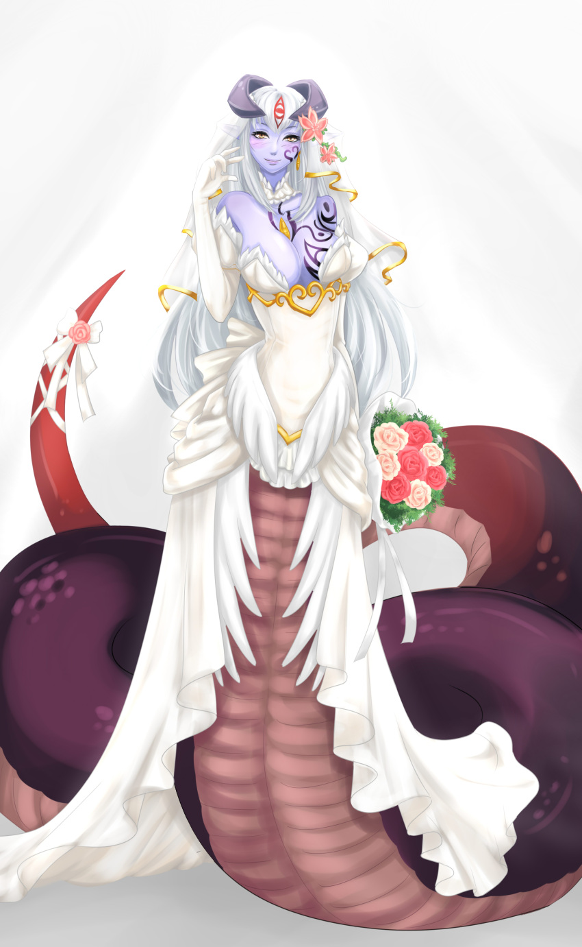 1girl absurdres alisfieze_fateburn_xvi bare_shoulders blush bouquet breasts bride cleavage detached_collar dress elbow_gloves flower full_body gloves hair_flower hair_ornament highres horns jewelry lamia long_hair mon-musu_quest! monster_girl purple_skin ribbon scales simple_background single_earring sleeveless sleeveless_dress slit_pupils smile solo tail tail_flower tail_ribbon tattoo tscbr very_long_hair wedding_dress white_background white_hair yellow_eyes