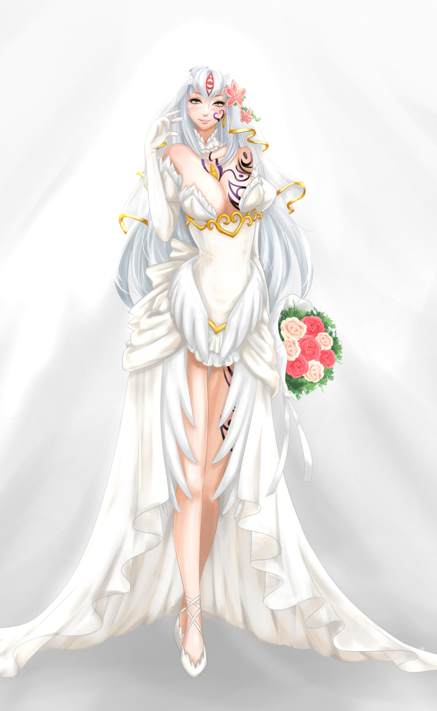 1girl absurdres alisfieze_fateburn_xvi bare_shoulders blush bouquet breasts bride cleavage detached_collar dress elbow_gloves flower full_body gloves hair_flower hair_ornament highres jewelry long_hair mon-musu_quest! simple_background single_earring sleeveless sleeveless_dress slit_pupils smile solo tattoo tscbr very_long_hair wedding_dress white_background white_hair yellow_eyes