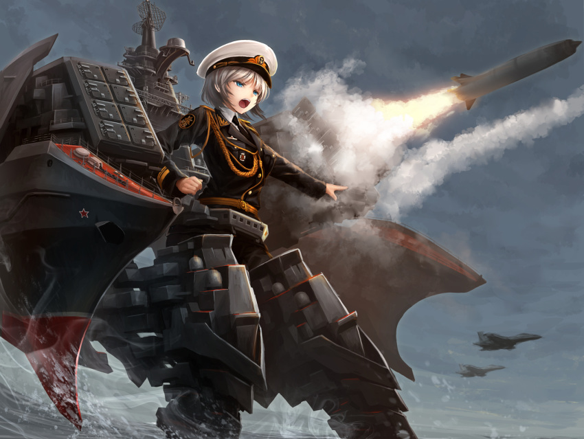 1girl aiguillette aircraft airplane blue_eyes cloud cloudy_sky commentary_request fighter_jet firing hat jet kantai_collection machinery mecha_musume mig-29 mig-29k military military_uniform military_vehicle missile ocean open_mouth original outdoors p-700_granit peaked_cap petr_velikiy_(battlecruiser) short_hair silver_hair sky smoke solo splashing standing tom-neko_(zamudo_akiyuki) uniform