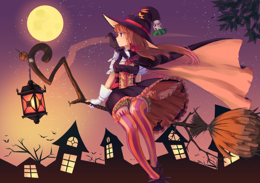 1girl bat bloomers broom emuki_(armies_soul) frills full_moon halloween hat highres lamp moon pumpkin solo striped striped_legwear thigh-highs underwear vertical-striped_legwear vertical_stripes witch witch_hat