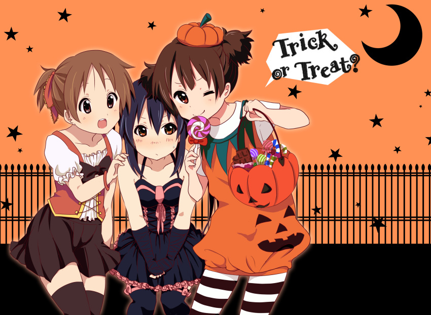 3girls absurdres black_hair brown_eyes brown_hair candy fingerless_gloves gloves halloween highres hirasawa_ui jack-o'-lantern k-on! long_hair multiple_girls nakano_azusa nikkezyoruno pantyhose ponytail short_hair striped striped_legwear suzuki_jun thigh-highs twintails