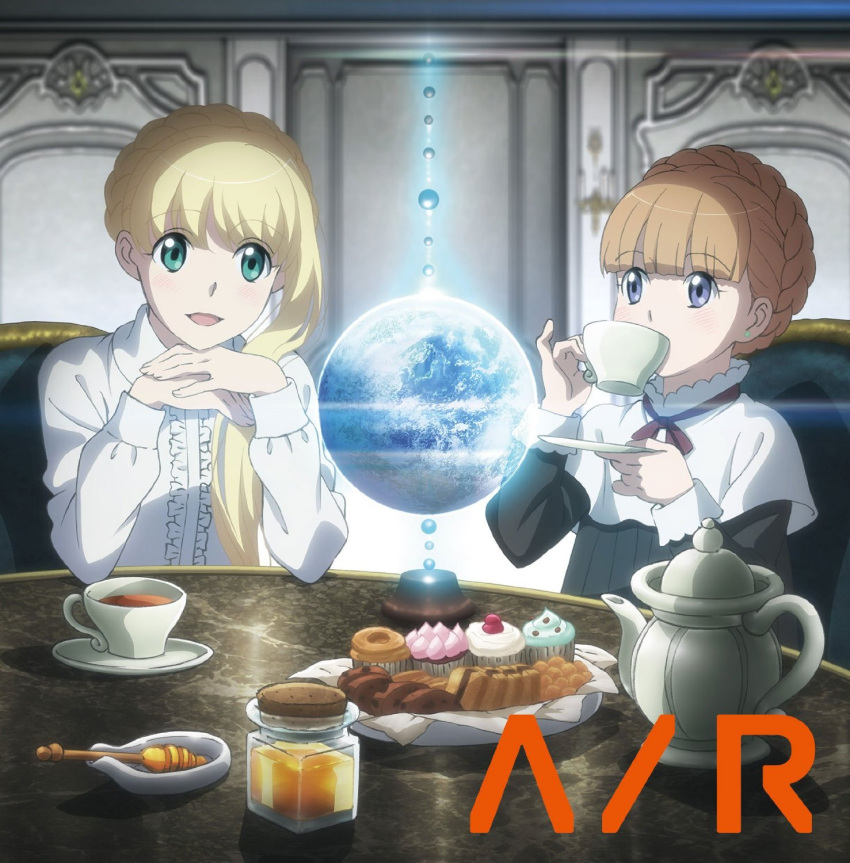 2girls aldnoah.zero asseylum_vers_allusia blonde_hair brown_hair cupcake earth eddelrittuo food green_eyes highres honey multiple_girls official_art open_mouth pastry pinky_out smile table tea violet_eyes
