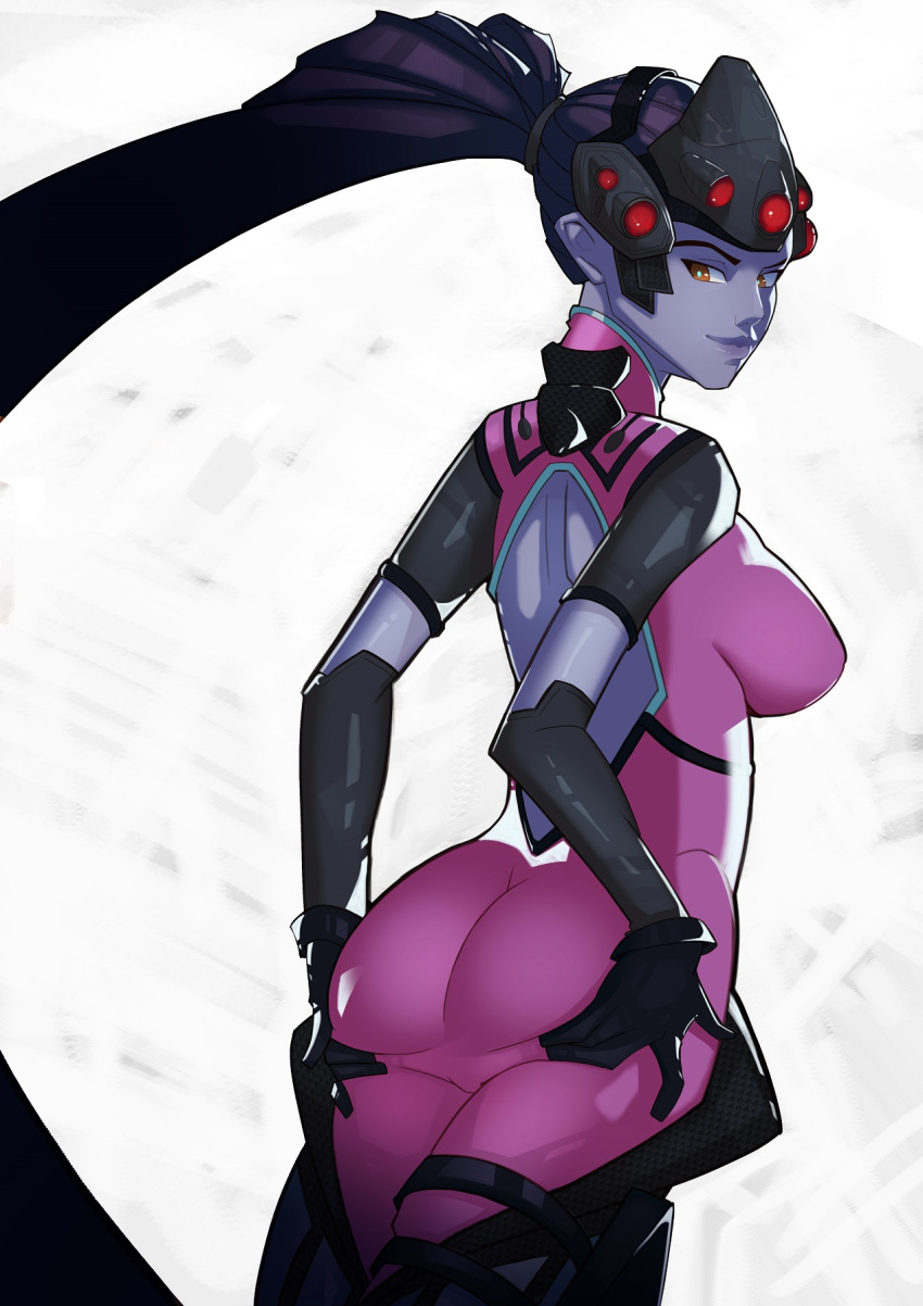 1girl amelie_lacroix ass bodysuit breasts brown_eyes gloves highres light_smile looking_back overwatch ponytail solo splashbrush spread_ass violet_eyes visor widowmaker_(overwatch)