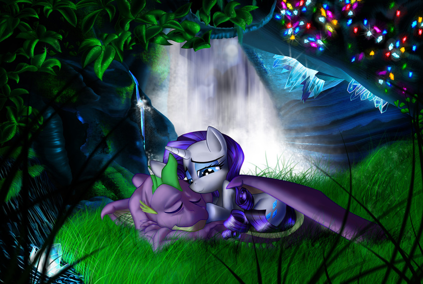 cave crystal dragon my_little_pony my_little_pony_friendship_is_magic no_humans rarity spike_(my_little_pony) water waterfall