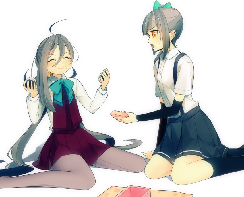2girls ^_^ ahoge amber_eyes black_legwear bow closed_eyes collared_shirt food food_in_mouth food_on_face fringe green_bow hair_bow holding_food kantai_collection kasumi_(kantai_collection) kiyoshimo_(kantai_collection) kneeling knees long_hair long_sleeves multiple_girls onigiri open_mouth pantyhose pleated_skirt sayori_(artist) shirt silver_hair simple_background sitting skirt smile thigh-highs white_shirt