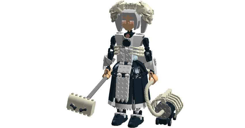 1girl apron bloody_marie_(skullgirls) dress hair_ornament hero_factory lego maid maid_headdress silver_hair skull skull_hair_ornament skullgirls twintails vacuum_cleaner
