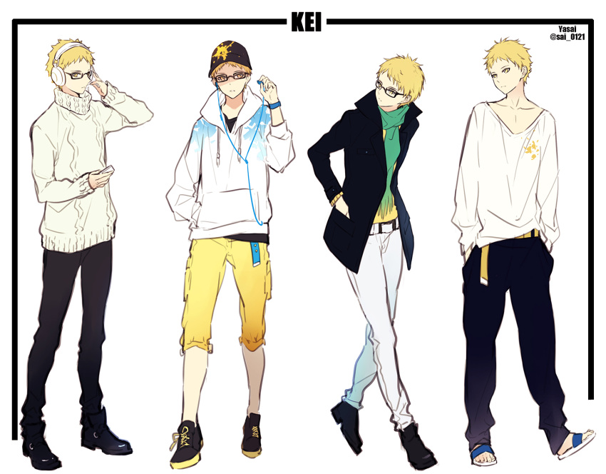 amber_eyes blonde_hair full_body glasses haikyuu!! hands_in_pockets hat headphones highres hood_down hooded_jacket jacket looking_to_the_side multiple_persona open_clothes open_jacket pants short_hair standing tsukishima_kei white_background yasai_(getsu)