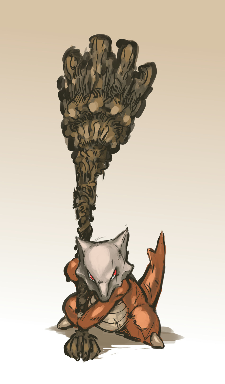 crossover dark_souls highres huge_weapon marowak nameo_(judgemasterkou) no_humans pokemon pokemon_(creature) red_eyes size_difference skull solo weapon
