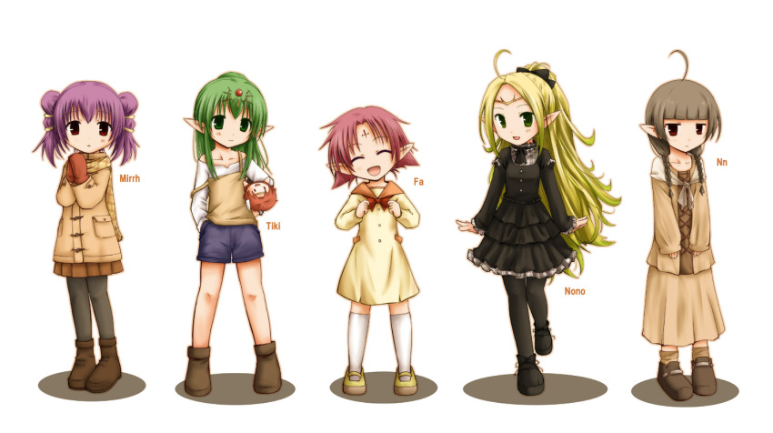 5girls :d ahoge alternate_costume black_dress black_legwear boots bow bowtie braid brown_hair brown_legwear character_name cheine chiki child closed_eyes coat doll dress fa facial_mark fire_emblem fire_emblem:_fuuin_no_tsurugi fire_emblem:_kakusei fire_emblem:_monshou_no_nazo fire_emblem:_seima_no_kouseki forehead_mark gloves green_eyes green_hair hands_together kneehighs long_hair long_skirt long_sleeves multiple_girls myrrh nn_(fire_emblem) nono_(fire_emblem) off_shoulder open_mouth pantyhose pink_hair pointy_ears ponytail purple_hair red_eyes scarf shirt shoes short_hair shorts skirt smile socks tenmaru tiara twin_braids white_legwear yellow_dress
