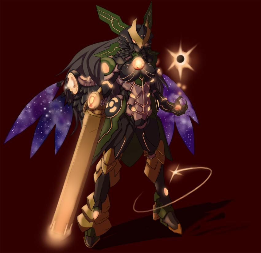 black_hair crossover highres karas long_hair mecha mechanization reiuji_utsuho rekise touhou weapon wings
