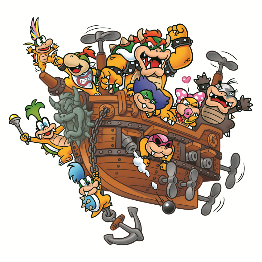 1girl absurdres airship anchor blue_hair bow bowser bowser_jr. cannon cannonballs green_hair heart highres iggy_koopa larry_koopa lemmy_koopa ludwig_von_koopa morton_koopa_jr. no_humans official_art rainbow_hair redhead roy_koopa sunglasses super_mario_bros. turtle wendy_o._koopa winking
