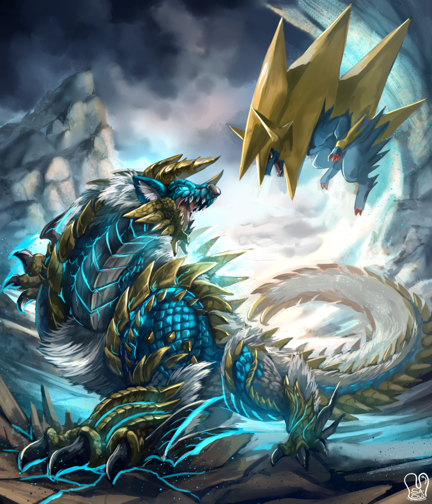 absurdres claws clouds cloudy_sky crack crossover fangs fur glowing glowing_eyes highres horns manectric mega_manectric mega_pokemon monster_hunter monster_hunter_portable_3rd mountain no_humans pokemon pokemon_(creature) pokemon_(game) pokemon_xy red_eyes sa-dui sky spikes tail zinogre