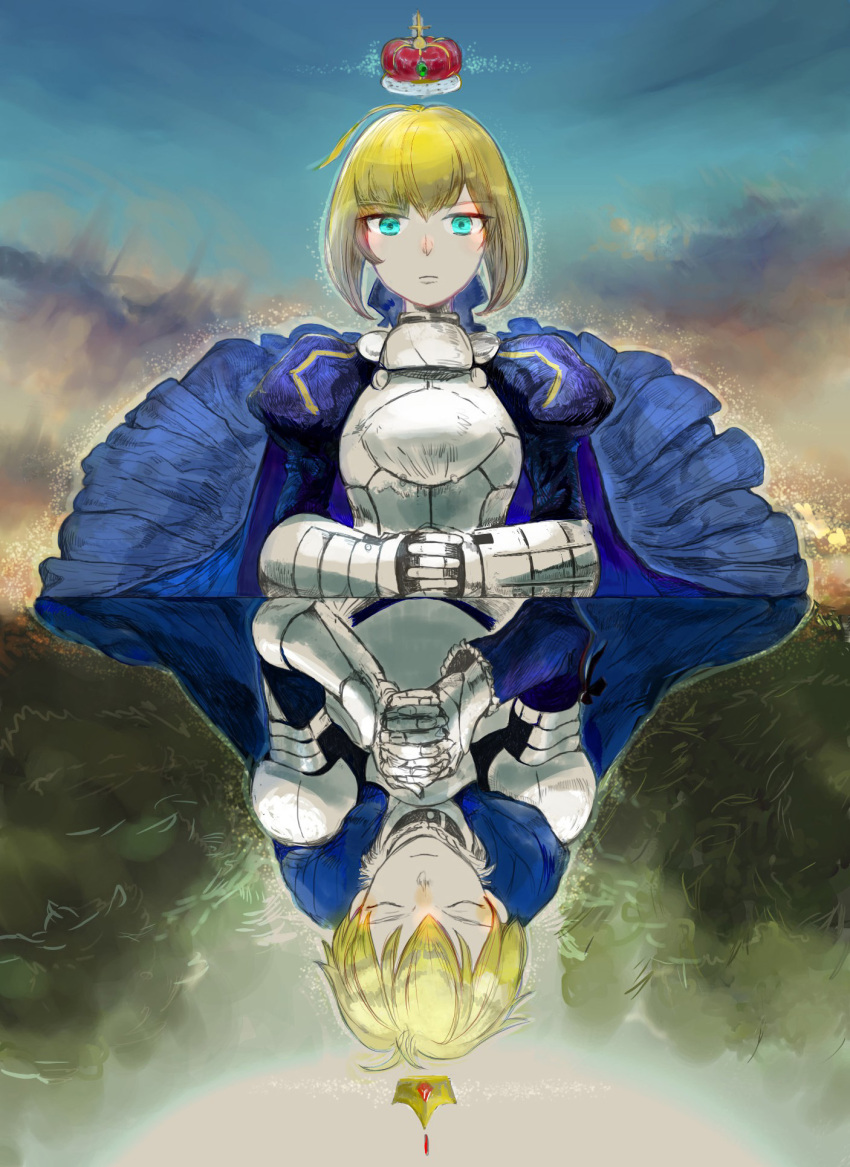 1boy 1girl armored_dressd bizu blonde_hair breastplate dual_persona fate/prototype fate/stay_night fate_(series) gauntlets genderswap green_eyes highres ress saber saber_(fate/prototype) upside-down