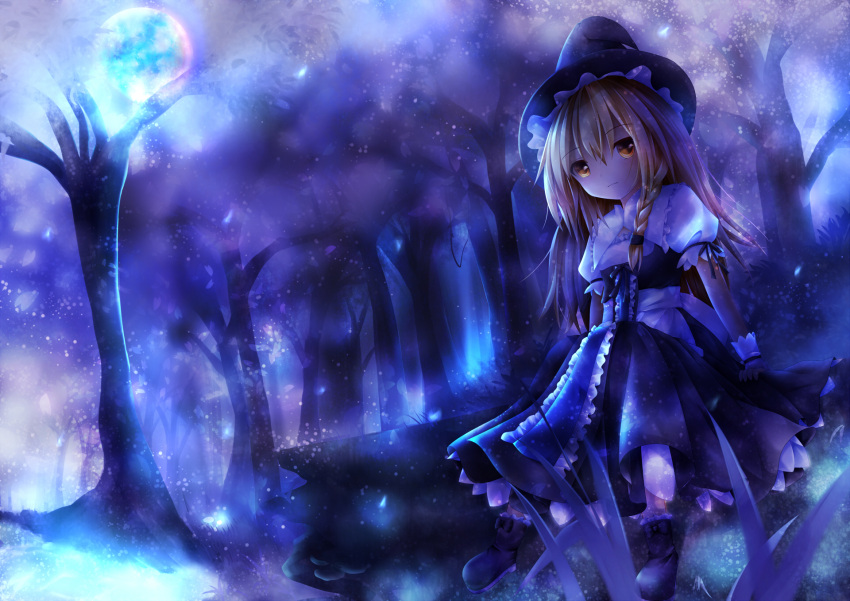 1girl ankle_boots blonde_hair boots braid forest full_moon furomaaju_(fromage) grass hair_ribbon hat highres kirisame_marisa light_frown light_particles log long_hair moon nature night puffy_short_sleeves puffy_sleeves ribbon short_sleeves single_braid sitting skirt skirt_set solo touhou tress_ribbon witch_hat wrist_cuffs yellow_eyes