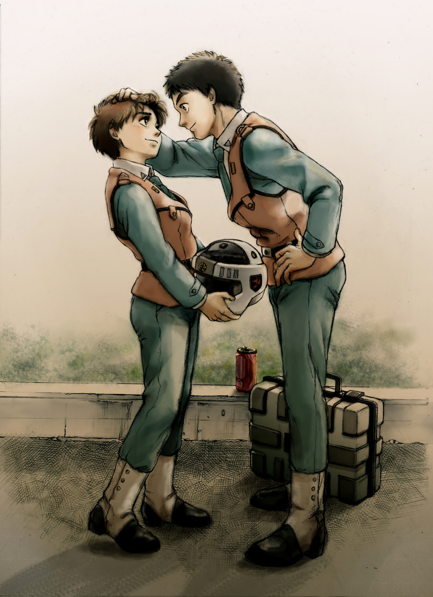 1boy 1girl absurdres black_hair briefcase brown_hair can colored_pencil_(medium) couple gaiters graphite_(medium) hand_on_another's_head helmet highres holding izumi_noa kidou_keisatsu_patlabor leaning_forward looking_at_another necktie patting shinohara_asuma short_hair smile traditional_media uirina uniform