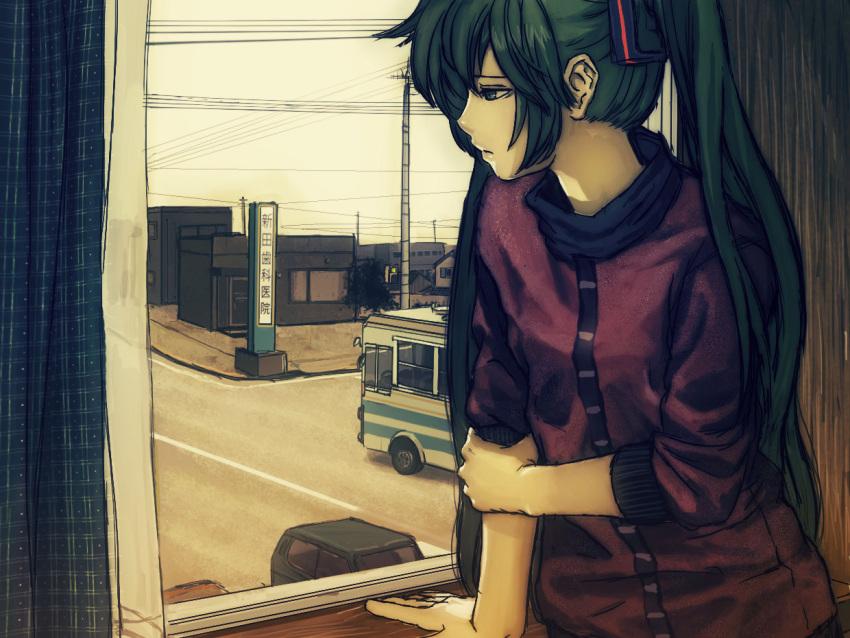 aqua_eyes aqua_hair bus car hatsune_miku horuda motor_vehicle power_lines sad solo twintails vehicle vocaloid window