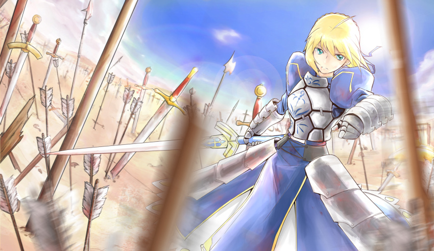 1girl ahoge armor armored_dress arrow blonde_hair blue_sky breastplate dutch_angle excalibur fate/stay_night fate_(series) faulds field_of_blades gauntlets green_eyes halberd highres lens_flare nullnat planted_arrow planted_sword planted_weapon polearm puffy_sleeves saber short_hair sky solo spear sword weapon