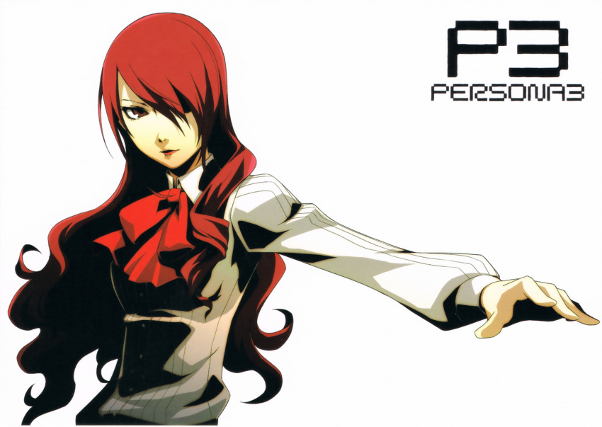hair_over_one_eye highres kirijou_mitsuru lipstick official_art persona persona_3 red_eyes red_hair redhead school_uniform soejima_shigenori