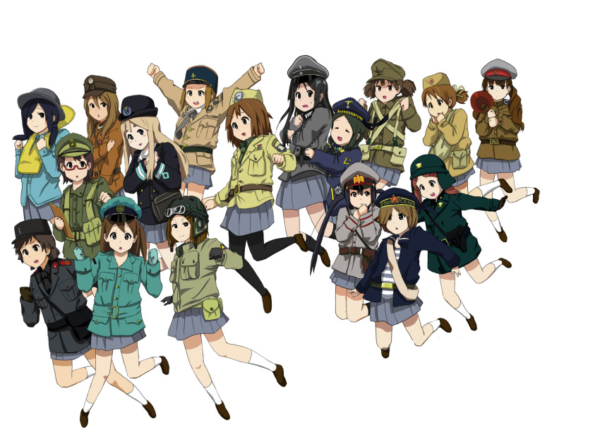 6+girls akiyama_mio anyan_(jooho) aviator_cap bag black_hair brown_hair gloves goggles goggles_on_head hammer_and_sickle hat highres hirasawa_yui iron_cross jumping k-on! kneehighs kotobuki_tsumugi long_hair looking_at_viewer messenger_bag military military_hat military_uniform multiple_girls nakano_azusa necktie pantyhose pleated_skirt police police_hat police_uniform redhead short_hair shoulder_bag side_ponytail skirt star suzuki_jun swastika tainaka_ritsu twintails uniform