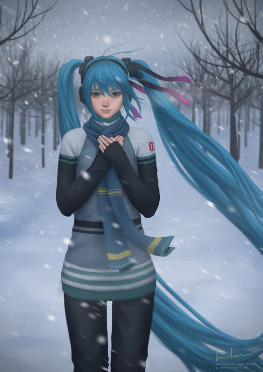 blue_eyes blue_hair blurry depth_of_field earmuffs gohpot hair_ribbon hands_on_own_chest hatsune_miku highres long_hair ribbon scarf signature smile snow snowing sweater tree twintails very_long_hair vocaloid watermark web_address