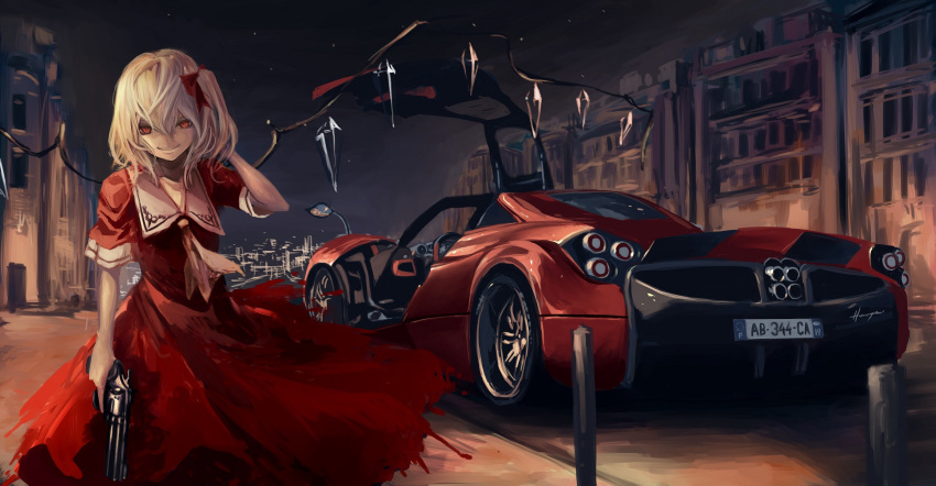 1girl blonde_hair bow car city city_lights dress flandre_scarlet gun hair_bow highres looking_at_viewer motor_vehicle night pagani_huayra red_dress red_eyes revolver road short_sleeves side_ponytail smile solo street terabyte_(rook777) touhou vehicle weapon wings