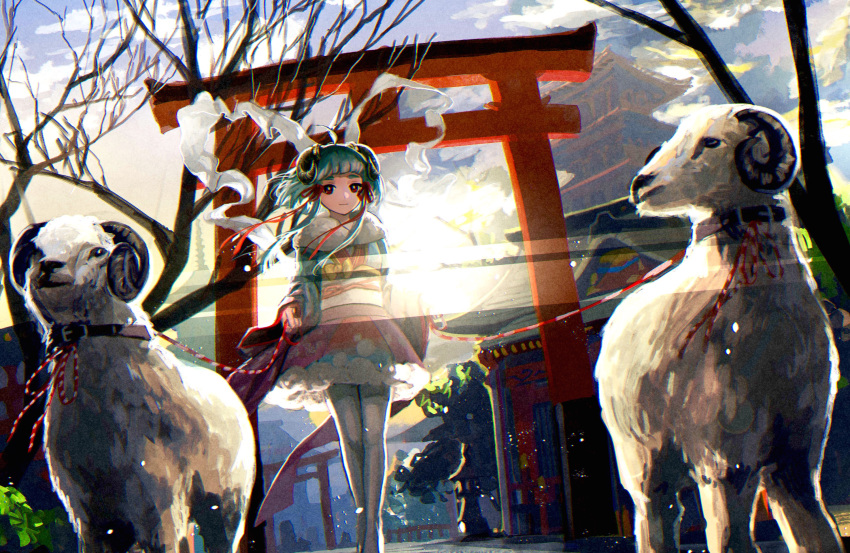 1girl animal aqua_hair collar highres horns japanese_clothes kimono leash looking_at_viewer original pine_(yellowpine112) red_eyes sheep sheep_horns smile torii