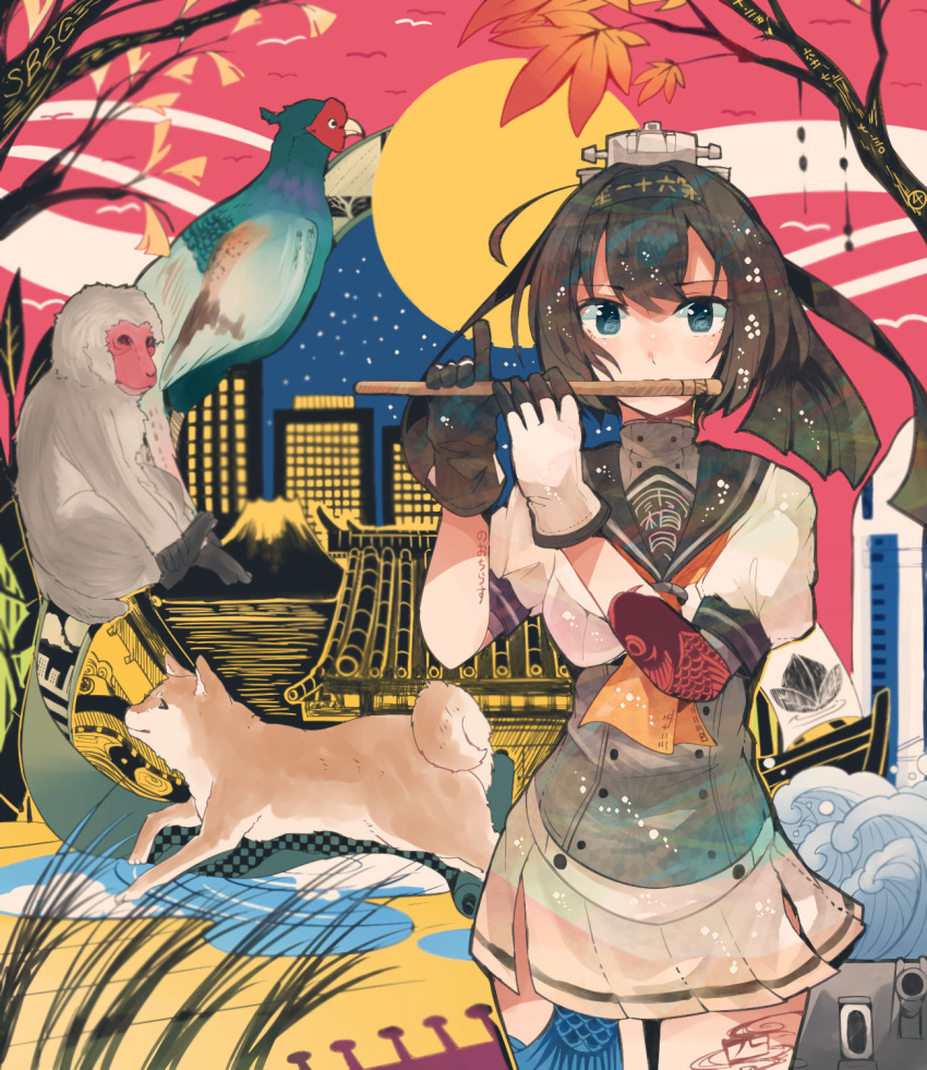 1girl akizuki_(kantai_collection) architecture autumn_leaves bird black_hair blouse blue_eyes cannon carp chou-10cm-hou-chan city corset dog east_asian_architecture fish flute full_moon gloves grass hachimaki hair_ornament hairband headband highres instrument itomugi-kun kantai_collection long_hair machinery momotarou monkey moon neckerchief night pheasant pleated_skirt ponytail sailor_collar school_uniform serafuku shiba_inu skirt sky star_(sky) starry_sky tattoo turret waves