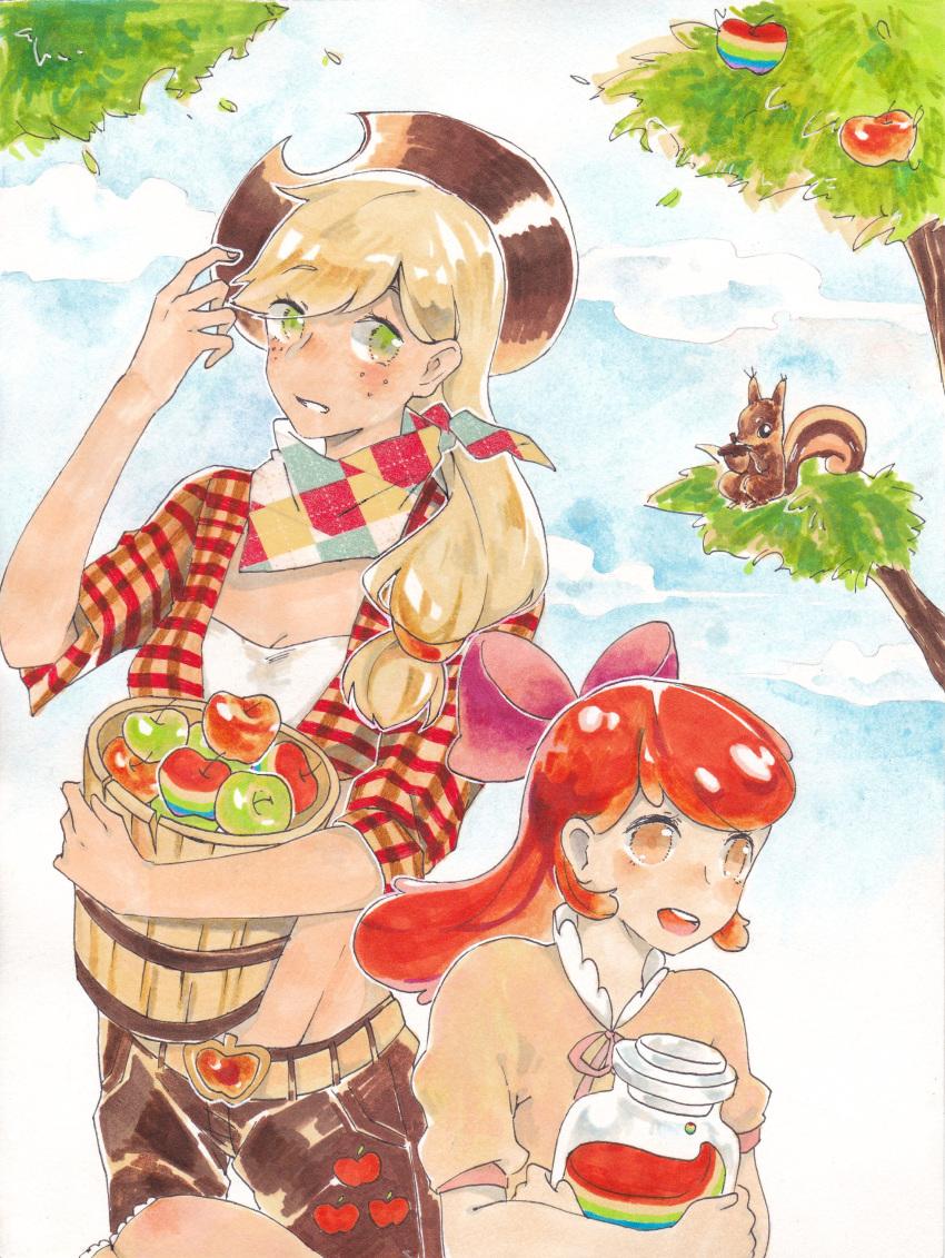 absurdres apple apple_bloom applejack chōjō_kabe food fruit highres my_little_pony my_little_pony_friendship_is_magic personification siblings sisters traditional_media watercolor_(medium)